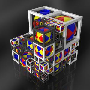 Incomplete cube with spheres and torus